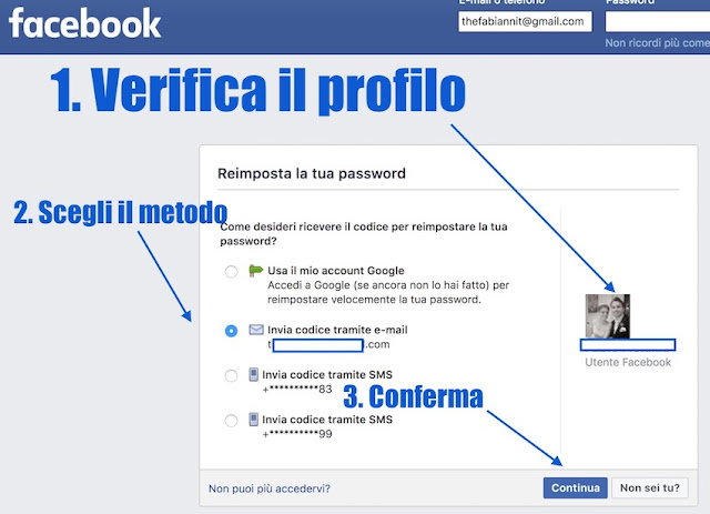 reimposta password facebook senza aver fatto il login da computer