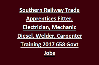 Southern Railway Trade Apprentices Fitter, Electrician, Mechanic Diesel, Welder, Carpenter Training Notification 2017 658 Govt Jobs