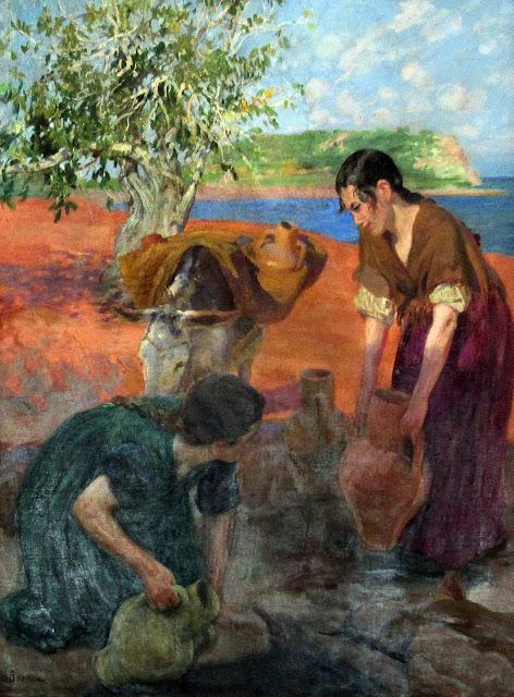 Mujeres llenando cantaros, La señora joven de Ibiza, Laureano Barrau Buñol, Pintor Catalán, Ibicenca, Pintor español, Cuadros de Laureano Barrau Buñol, Barrau Buñol