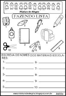 Lista materiais escolares grupo semântico alfabetização
