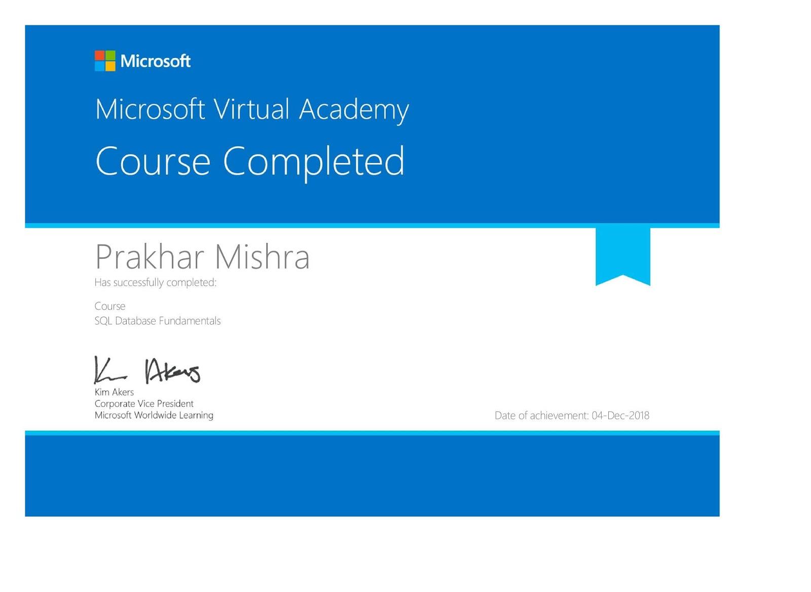 Microsoft Virtual Academy Free Certification Course