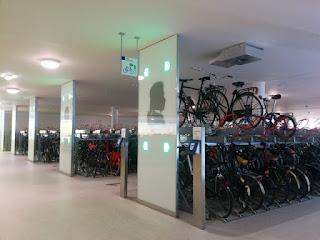 Bicycles stored underground, Amsterdam Zuid station, Amsterdam, The Netherlands