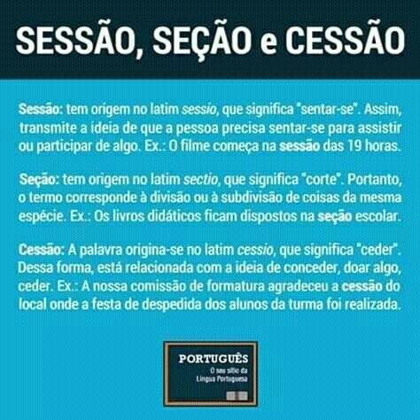 SESSÃO, SEÇÃO OU CESSÃO