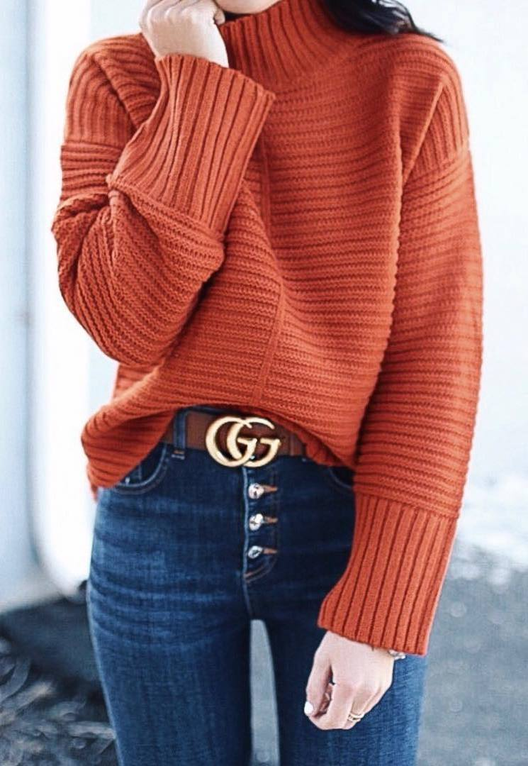 ootd | red knit sweater and high waist jeans