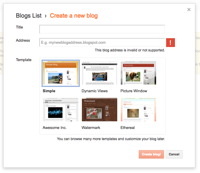 Blogger title and address options - the web stop
