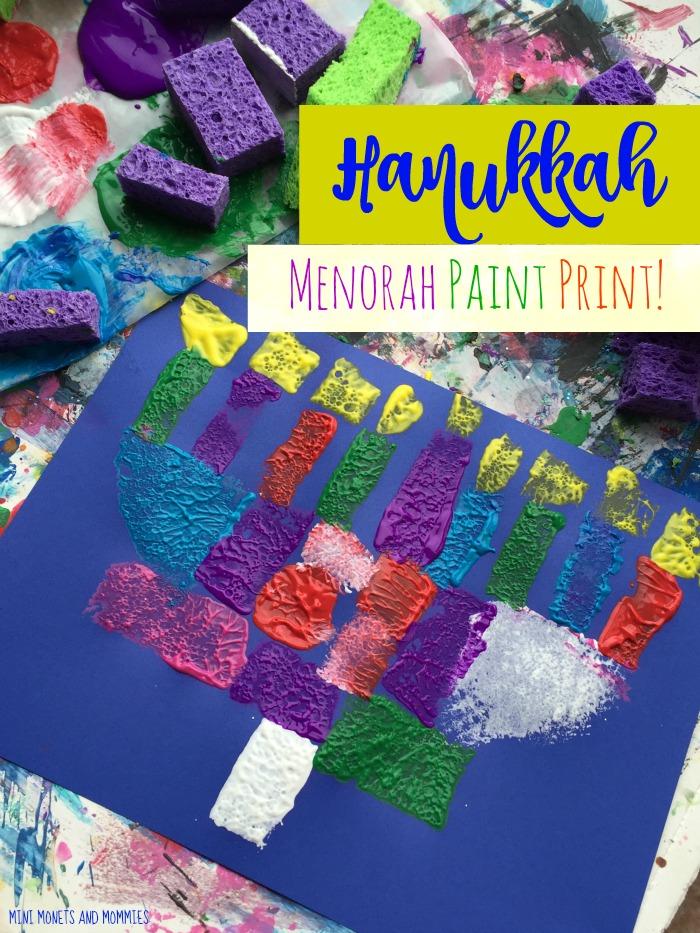 mini monets and mommies hanukkah kids craft sponge print menorah