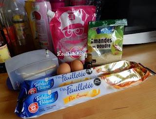 les ingrédients pour la galette des rois : amande en poudre, amande amère, pâte feuilletée, sucre,