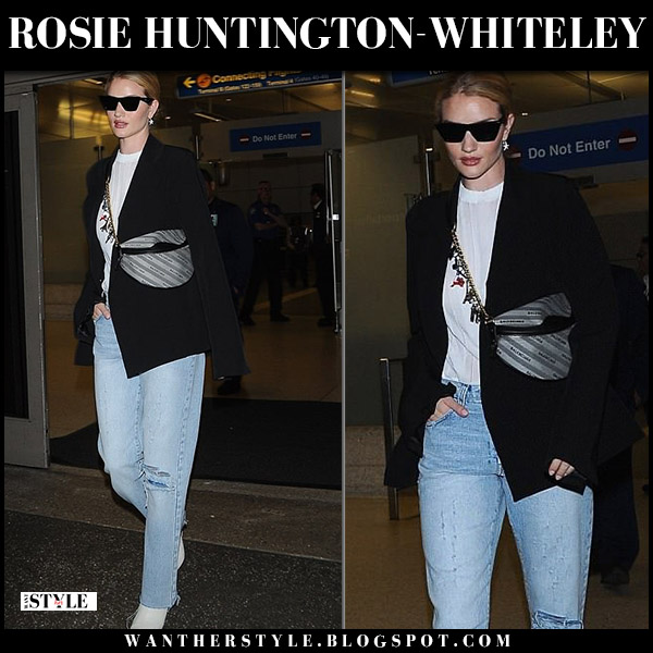 Rosie Huntington-Whiteley in black blazer and jeans with grey belt bag balenciaga model airport style may 11