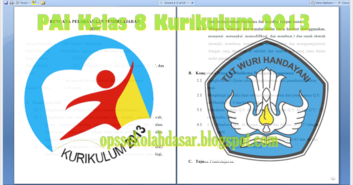 Download Pai Kelas 8 Kurikulum 2013 Revisi Tahun 2016 Format Docs Ops Sekolah Dasar