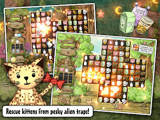 Screenshot from Kitten Sanctuary game showing match-three game board and a kitten