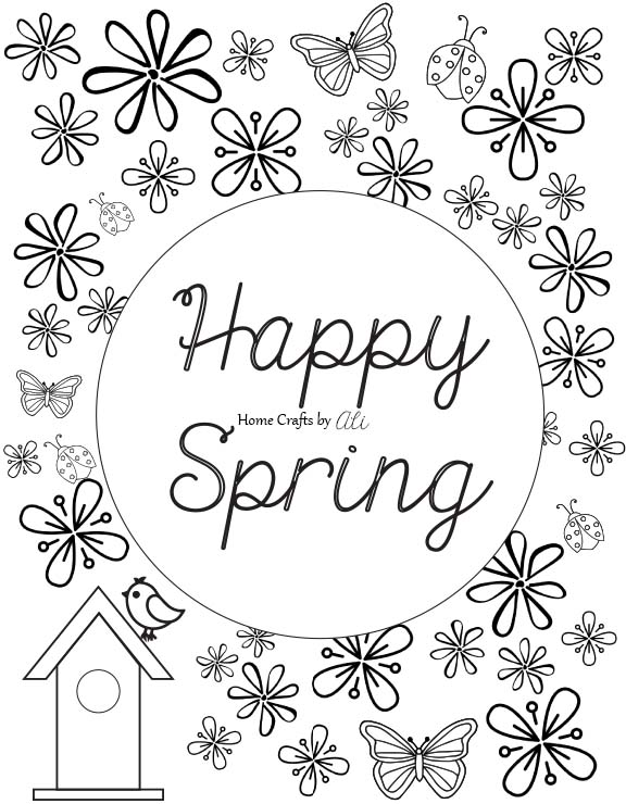 free printable black and white spring coloring page