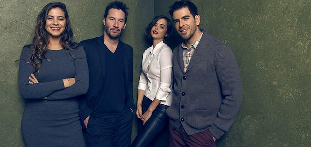 Lorenza Izzo, Keanu Reeves, Ana de Armas şi Eli Roth la Festivalul De Film Sundance