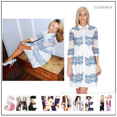 3/4 Sleeve, Blue, Button Up, Collared, Cream, Diamond Pattern, Dress, Floral Pattern, Goddiva, Lace, Lydia Bright, Shirt Dress, Teal, The Only Way Is Essex, TOWIE, Zig Zag Pattern,