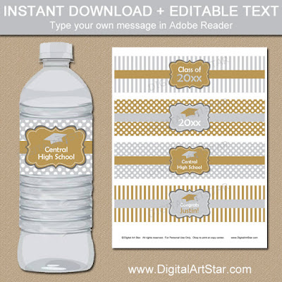 Graduation Party Supplies - Gold and silver editable water wraps - instant download