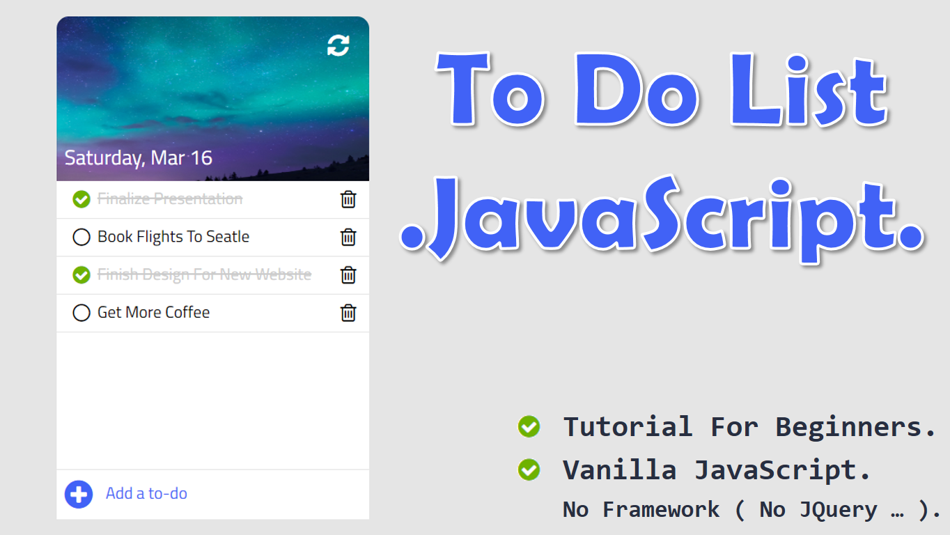 Create To Do List App in JavaScript, HTML, and CSS | Code