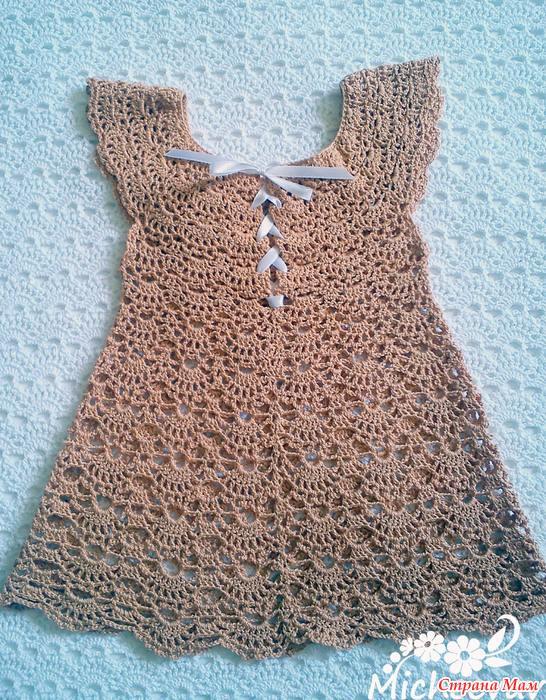 باترون طريقة عمل فستان اطفال بفتحة صدر دائرية كروشيه عمايل ايديا