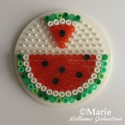 Watermelon summer fruit hama fused perler beads pattern instructions tutorial craft kids adults