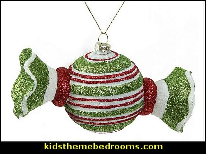 candy Christmas theme decorating - candy themed christmas decorations - christmas candyland decorations -  candy ornaments -  candy shaped holiday ornaments - candy themed Christmas decor -