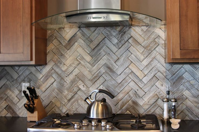 classic kitchen herringbone backsplash