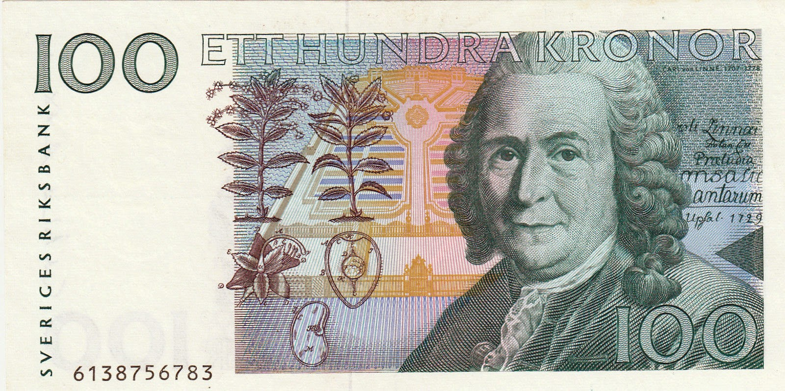 Sweden Currency 100 Swedish Krona banknote, Carl Linnaeus