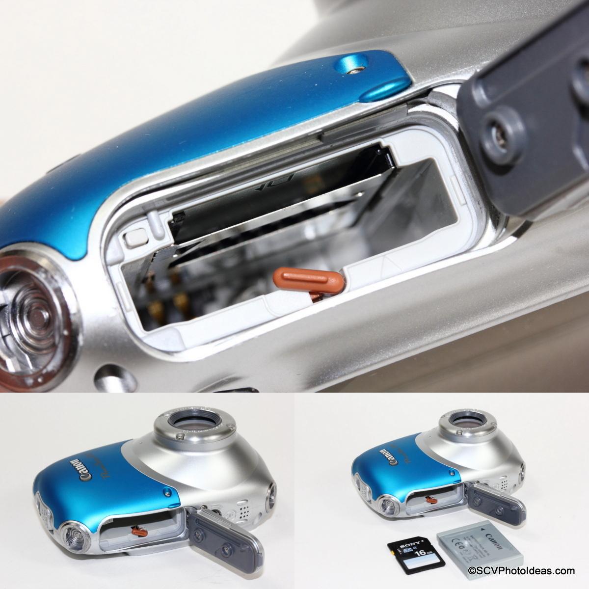 Canon PowerShot D10 Camera Memory and Battery slots