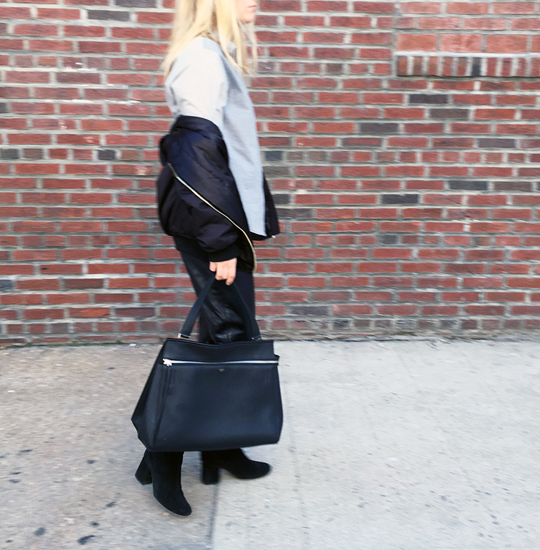 Zady shirt, Celine Edge bag, Miu Miu leather pants, Free People boots, Ray-Ban Lennon sunglasses
