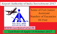 Airports Authority of India Recruitment 2017– 84 Junior Assistant