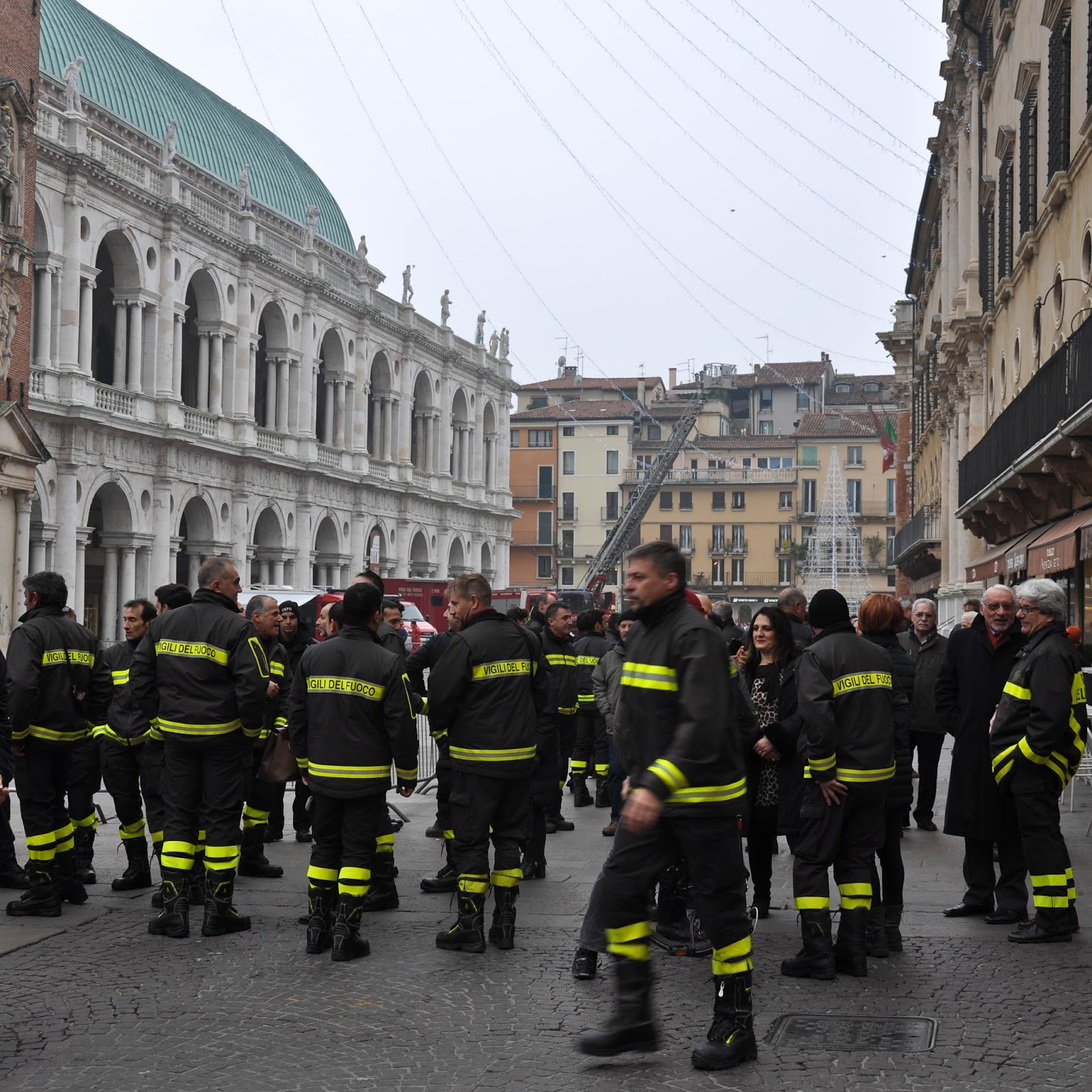Firefighters, Piazza dei Signori, Saint Barbara celebration, Vicenza, Veneto, Italy