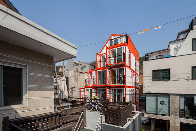 Shipping Container 4 Story House - Office, Cafe and Hotel in Seoul, South Korea 10