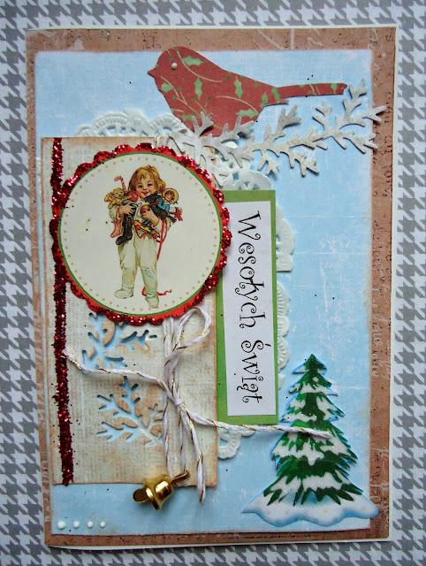 kartka z dzieckiem i prezentami