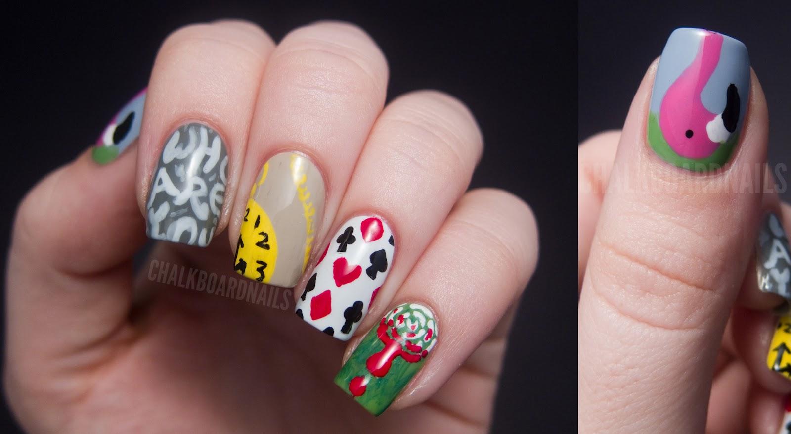 Alice in Wonderland Nail Art | Chalkboard Nails | Nail Art ...
