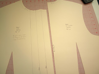 Bodice pattern pieces cut out of tag board