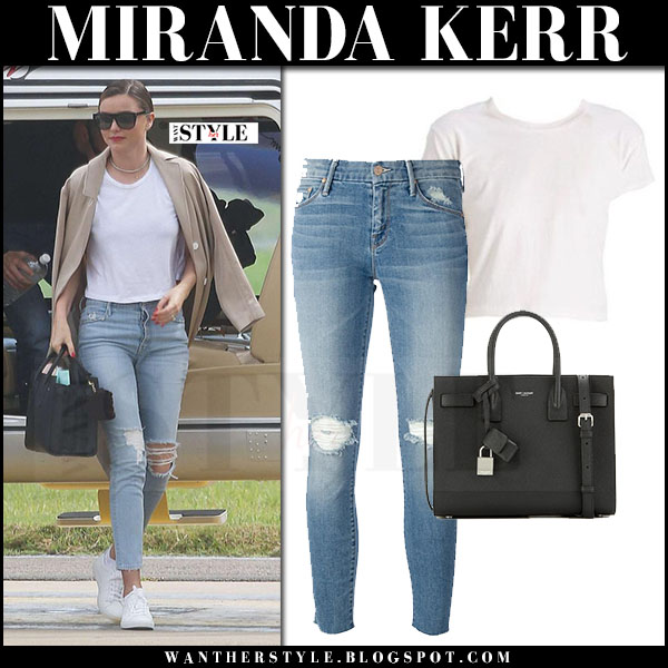 Miranda Kerr in white tee, ripped jeans and white sneakers common projects achilles what she wore