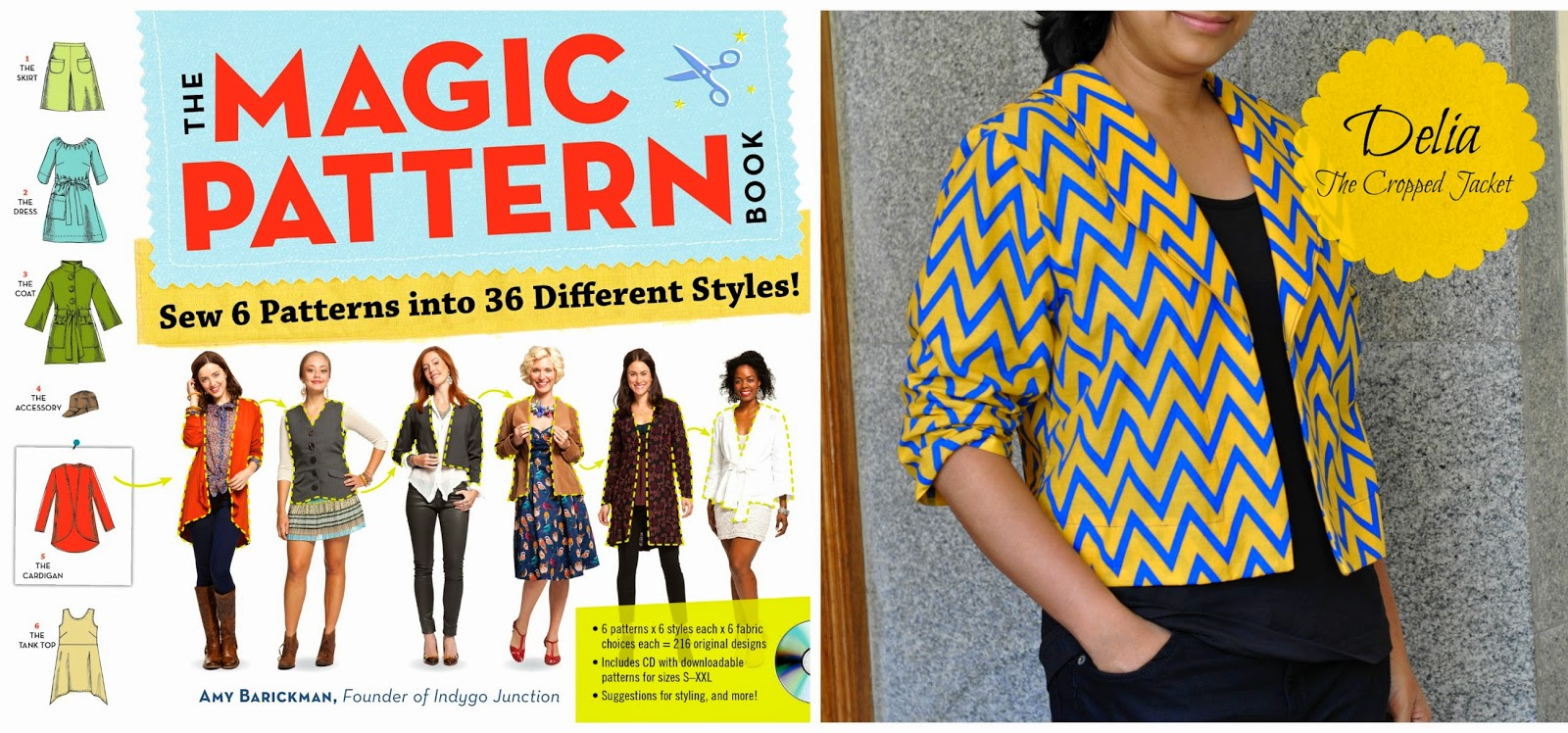 Jacket sewing pattern for beginners without lining made form the magic pattern book by amy barickman founder of indygo junction. Yellow jacket with blue chevron or zig zag print. simple collar and three fourth sleeves