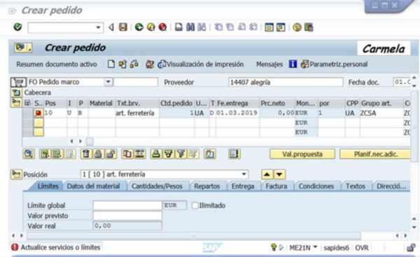 SAP Pestaña Límites en Pedido - Consultoria-SAP