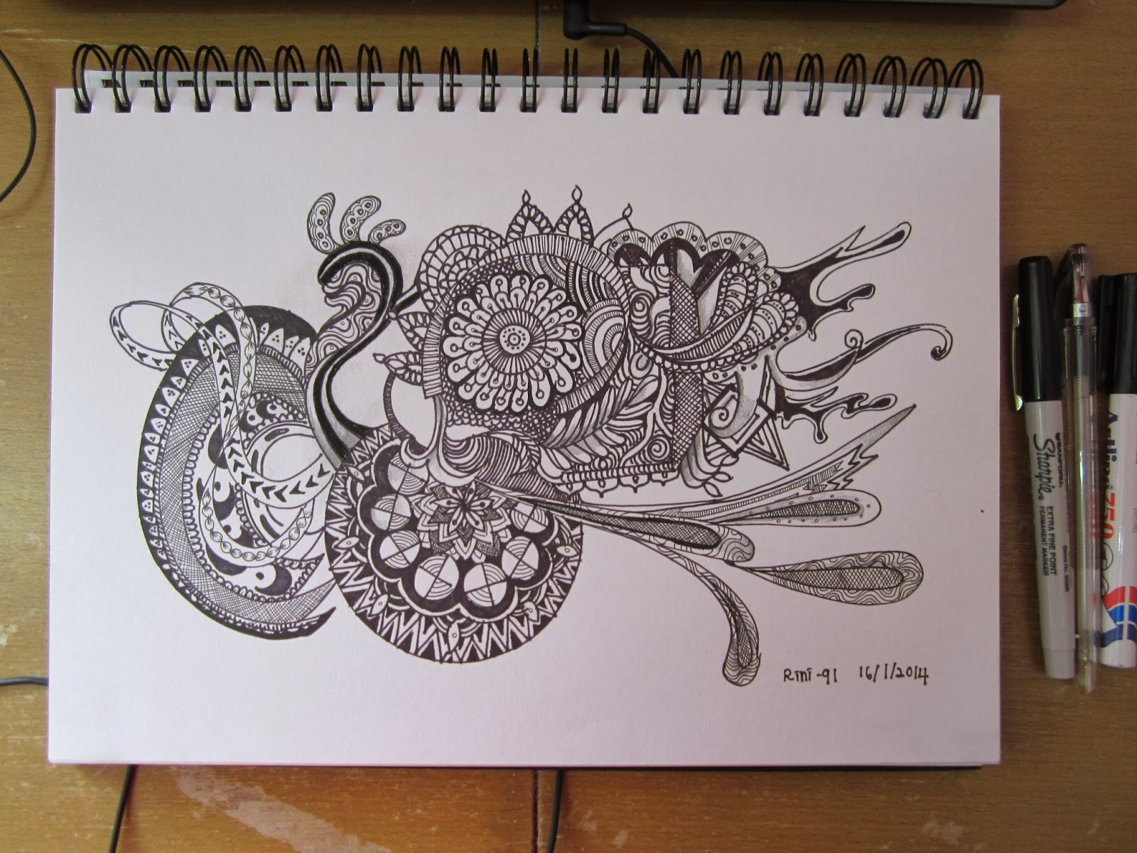 FUN SKETCHING ilham dari  burung  merak  making doodle