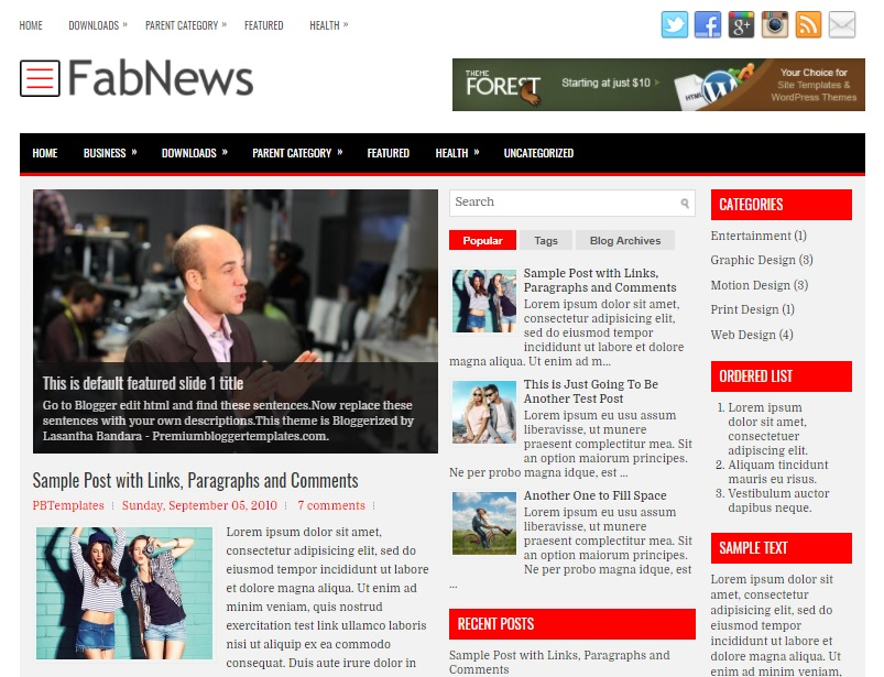 FabNews Blogger Template has a Mobile Friendly Slider Free Download FabNews Blogger Template