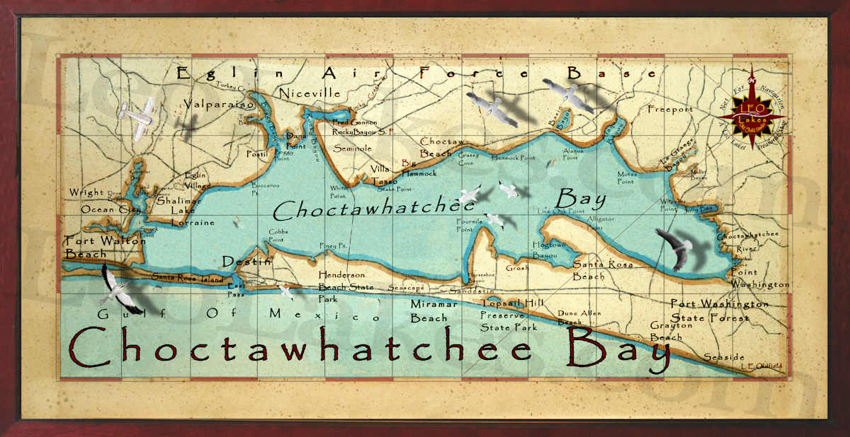Old field Studio: Choctawhatchee Bay Decor Map