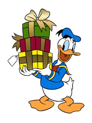 pato donald con regalos de cumpleaños