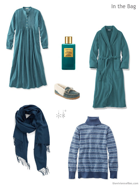 What to pack for an overnight trip, in teal and shades of blue