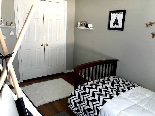 gray white black gold room, little boy room, sherwin williams amazing gray, White fur rug, Espresso furniture little boy room