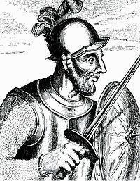 Ilustración de Diego de Almagro con escudo y espada