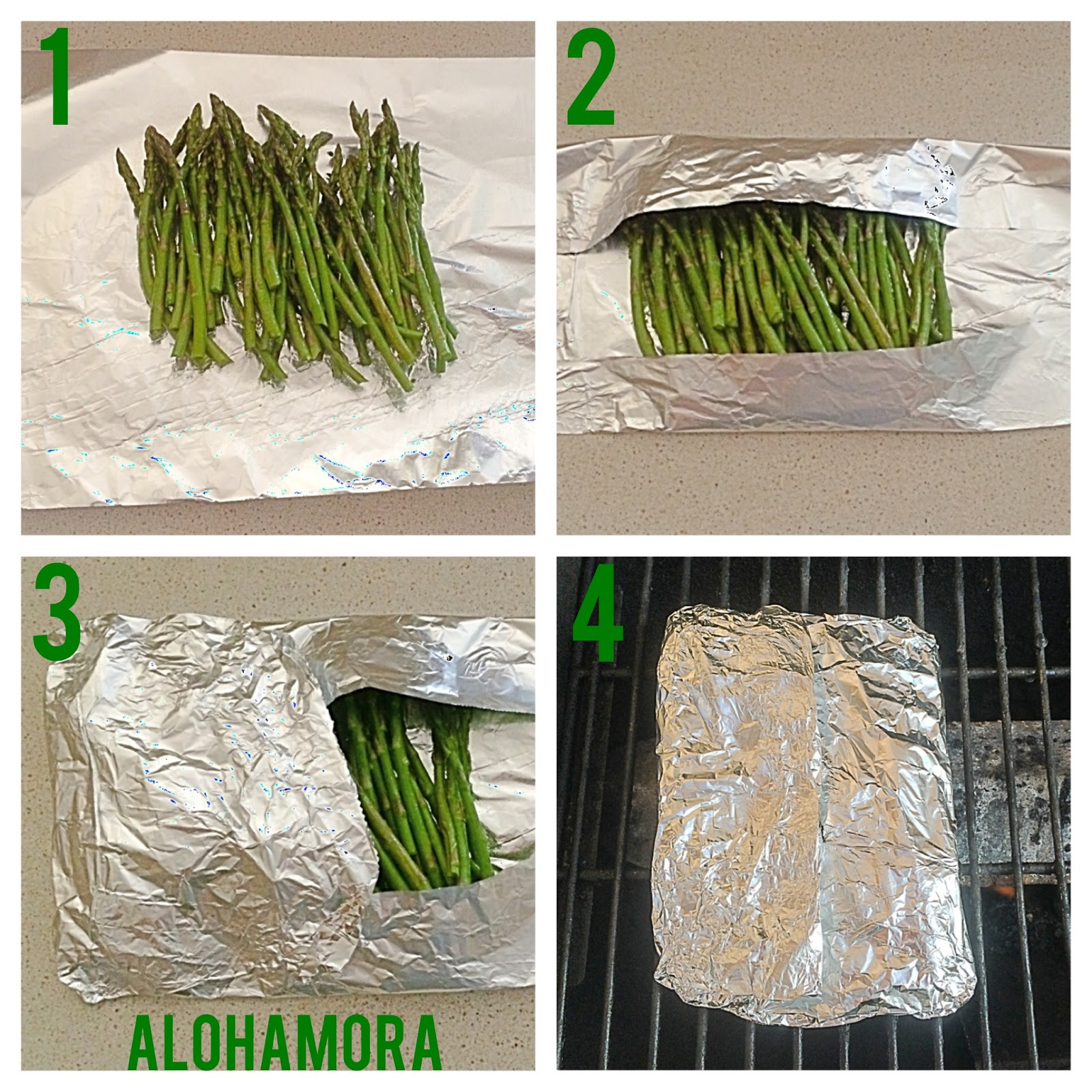 Recipe and steps to easily grill asparagus for a quick and healthy vegetable side dish.  Alohamora Open a Book http://www.alohamoraopenabook.blogspot.com/