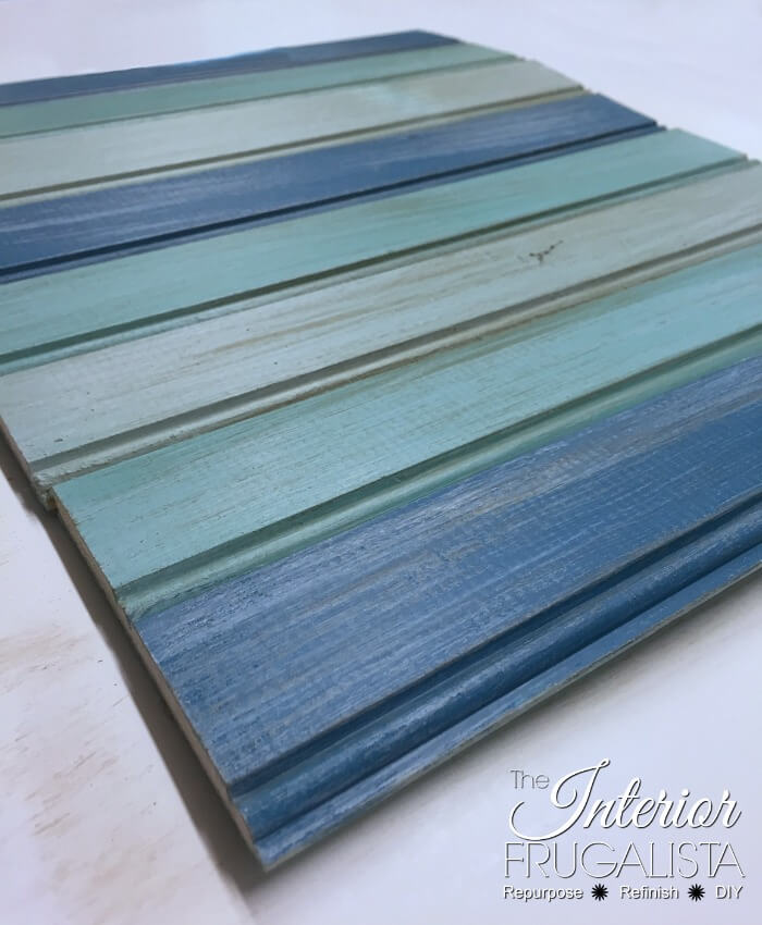 Coastal Picture Frame Serving Tray Painted Slat Base