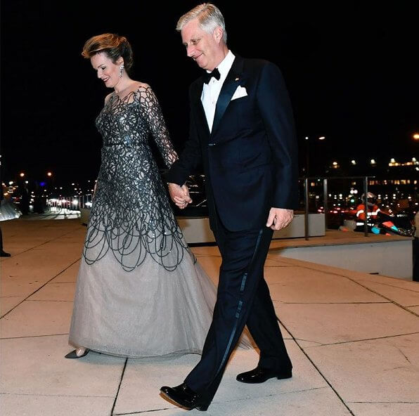 Queen Mathilde wore a new embroidered dress by Natan. Princess Stephanie wore a new metallic embroidered gown by Oscar de la Renta