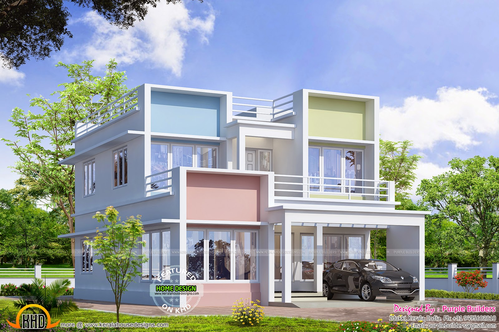 Modern colorful home design kerala home design and floor for Ground floor vs first floor