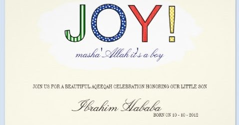 Islamic Greeting Cards Sweet Modern Aqiqah Invitation For