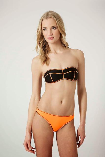 Bikini costuras neon Topshop SS 2015 silueta reloj de arena