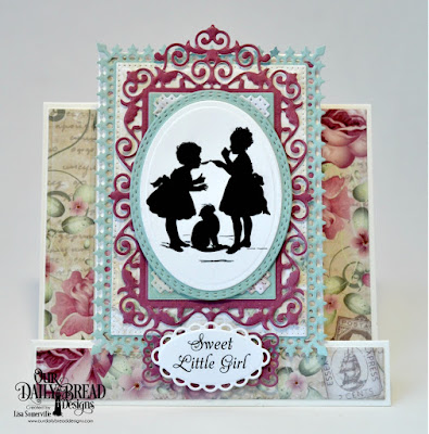 Our Daily Bread Designs Stamps - Little Girls, Paper Collection: Romantic Roses, Custom Dies: Center Step Card, Center Step Layers, Lavish Layers, Oval Stitched Rows, Filigree Frames, Ovals, Ornate Ovals