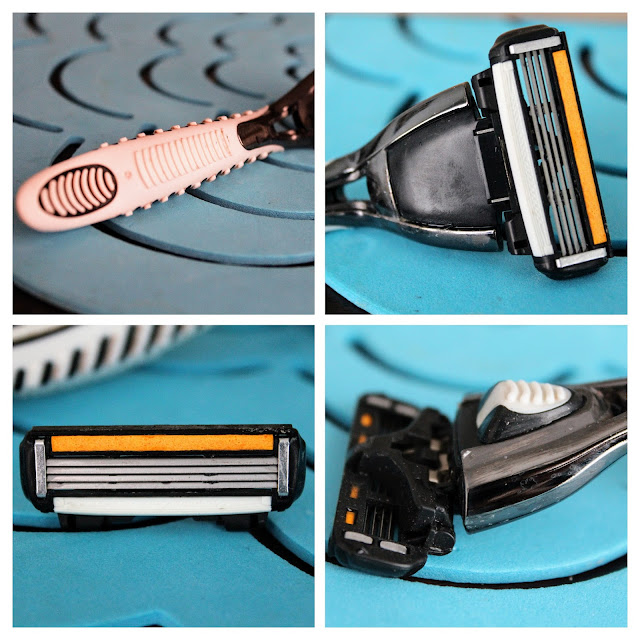 """Dollar Shave Club Canada - A four picture collage of the 4X """"The Lover's Blade"""" showing a close up of the cartridge, handle and blade."""